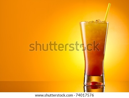 Tequila sunrise Cocktail isolated on a orange background