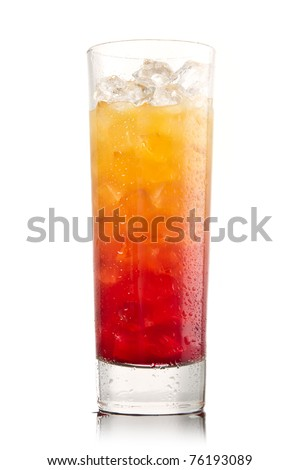Tequila sunrise Cocktail isolated on a white
