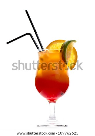 Tequila sunrise cocktail isolated on white background