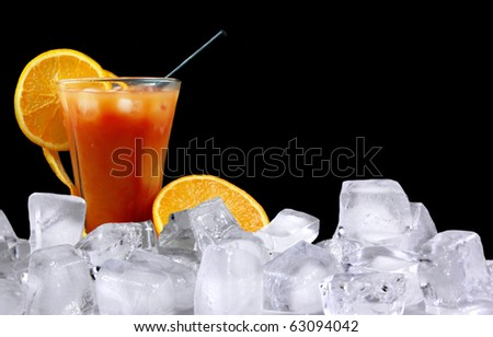 Tequila Sunrise ice drink - stock photo