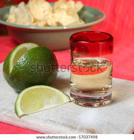 Tequila with lime and salt on a wooden board
