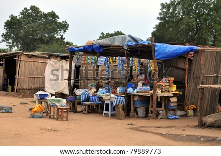 TEREKEKA - JUNE 11: Groceries and cellphone airtime are sold at a simple roadside shop in Terekeka, South Sudan, on June 11, 2011. South Sudan is one of the most undeveloped countries in the world.