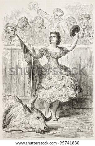 Teresa Bolsi old engraved portrait, Andalusian female bullfighter. Created by Gustave Dore, published on Le Tour Du Monde, Paris, 1867