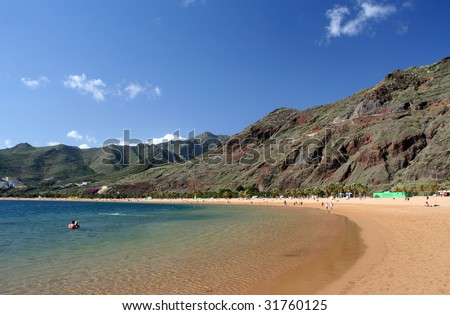 Teresitas beach of Tenerife island, Canarias - stock photo