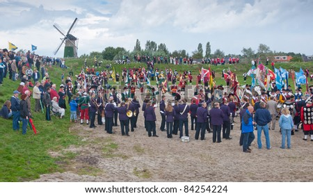 TERHEIJDEN, NETHERLANDS – AUG. 28: Guild Festival,  an overview at the Small Entrenchment of the Dutch village of Terheijden in the Netherlands on August 28, 2011.