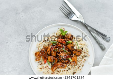teriyaki chicken's  with chili pepper and sesame seeds, with rice. on a white plate, copy space, selective focus, Asian cuisine, Chinese cuisine, Thai cuisine. food flat lay. light background