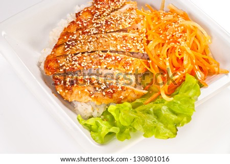 Teriyaki Chicken with steamed rice and marinaded carrots