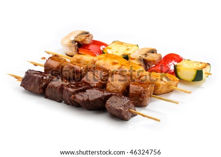 Teriyaki set with beef, chicken, salmon and vegetables