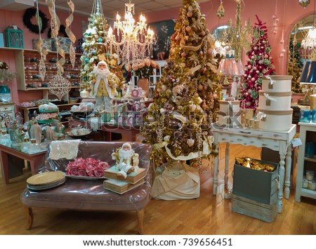 TERNI, ITALY - OCTOBER 22, 2017: Magic atmosphere at Santa Claus village shop with Christmas tree, decorations and balls #739656451