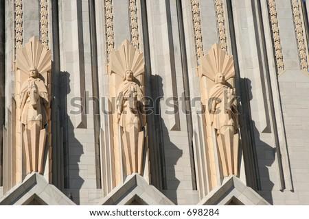 Terra Cotta Statues Above Doors To Boston Avenue Methodist Church, Tulsa, OK