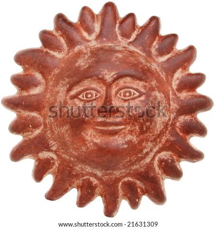 Terra cotta sun face isolated on white - stock photo