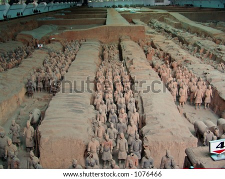 Terra Cotta Warriors in large pits in Xian, China