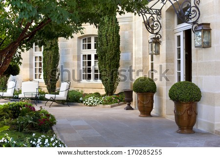 Terrace and garden of a French mansion near Bordeaux