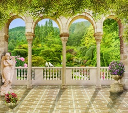 terrace arch and pigeons. Digital fresco. Beautiful view from the terrace