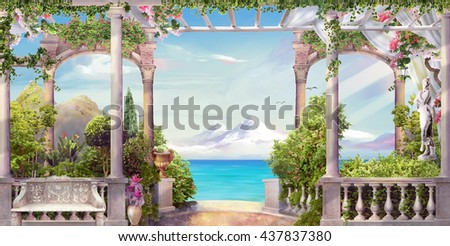 stock photo terrace by the sea 437837380 - Каталог — Фотообои «Балконы, арки»