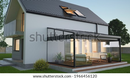 Terrace canopy - winter garden, 3d illustration 商業照片 ©