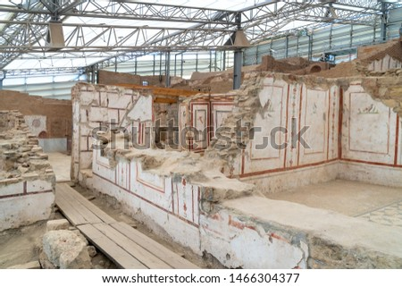 Terrace house ruins with mosaics and wall drawings, paintings in historical ancient city Ephesus, Izmir, Turkey.