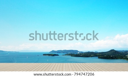terrace in hotel or condominium on island view and sea view - living area on balcony sea view - artwork for holiday time - Simple design - 3D Rendering