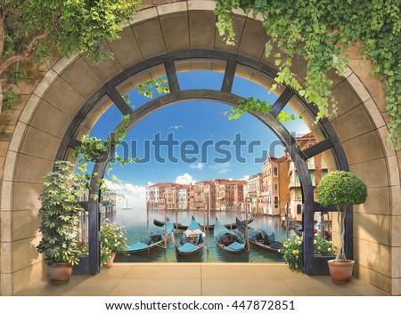 stock photo terrace in venice 447872851 - Каталог — Фотообои «Балконы, арки»