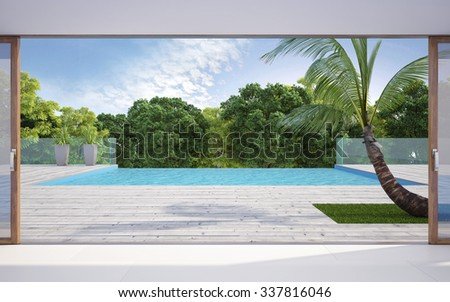terrace near swiming pool with trees #337816046