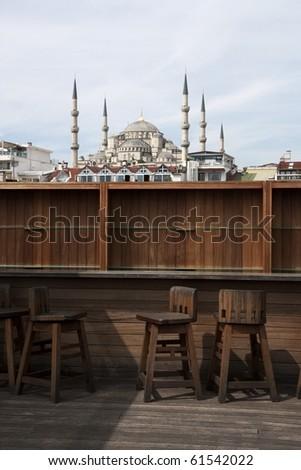 Terrace nearby Blue mosque in Istanbul, Turkey