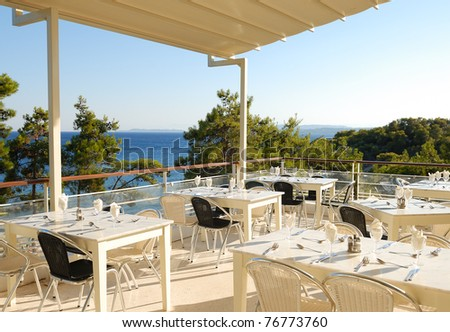 Terrace of a restaurant with view on the sea