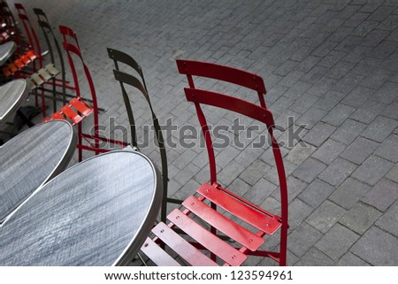 Terrace of an old bistro in France
