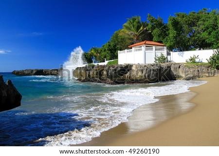 Terrace on caribbean beach - stock photo