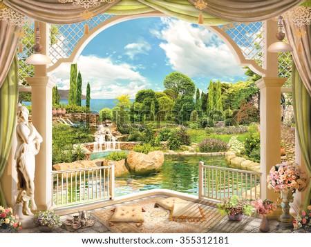 Terrace overlooking the garden