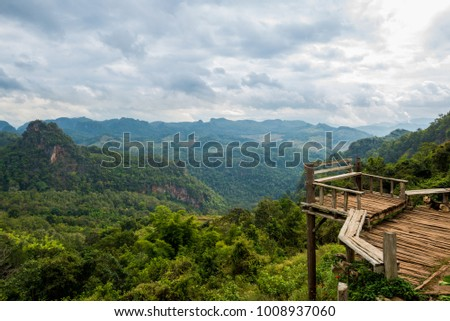 Terrace view with safety bar in the forest mountain valley, North of Thailand #1008937060
