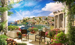 Terrace with beautiful view of the  mediterranean bay.