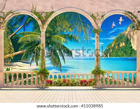 Terrace with colonnade and balustrade overlooking the tropical bay with green plants, palms and mountain. Digital painting. Imitation of oil painting.