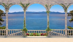 Terrace with colonnade, balustrade, flowers, overlooking the sea and mountains. Villa terrace, balcony.