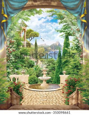 stock photo terrace with fountain 350098661 - Каталог — Фотообои «Балконы, арки»
