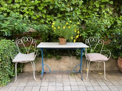 terrace with retro table and chairs in garden with wall with green vines