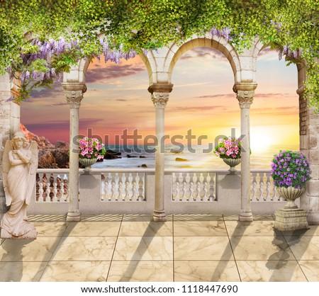 Terrace with sea view. Beautiful view. Digital fresco