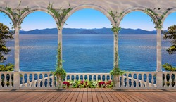 Terrace with white colonnade overlooking the sea and mountains