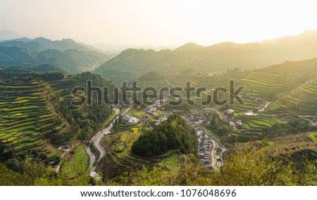 Terraced natural scenery #1076048696
