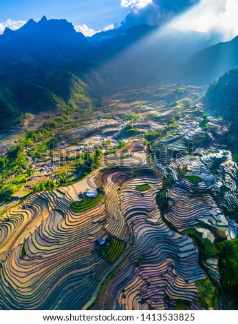 Terraced rice field in morning in water season, the time before starting grow rice in Y Ty, Lao Cai province, Vietnam Zdjęcia stock ©