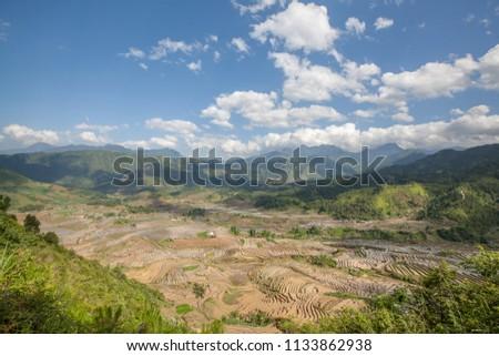 Terraced rice field in water season in Sang Ma Sao, Y Ty, Bat Xat, Lao Cai province, Vietnam landscape Zdjęcia stock ©