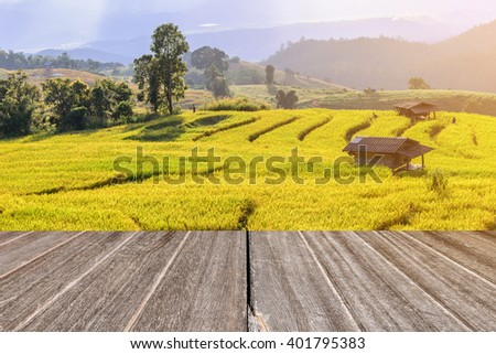Terraced rice field with with wooden floor perspective. #401795383