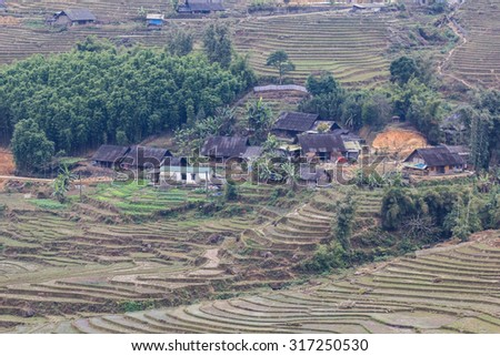 Terraced rice fields - Terraced rice fields with old houses in the fog  - on sapa , Vietnam Laocai, Vietnam JAN 10, 2015