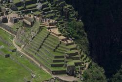 Terraces in a pyramidal form in the citadel of Machupicchu in Cusco-PERU