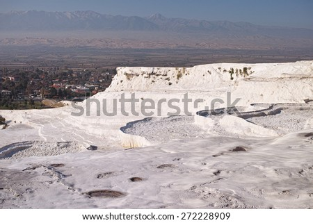 Terraces of Pamukkale, a natural mineral spring hot water coming out of the mountains. Turkey