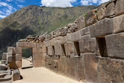 Terraces of Pumatallis at the Inca ruins of Ollantaytambo in the Sacred Valley of the Incas, Urubamba Province in Peru, South America.