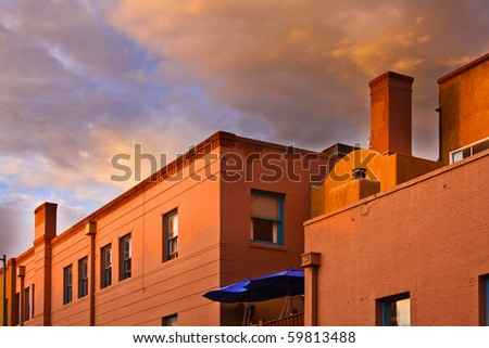 Terracotta brick and adobe roof tops at sunset. : terracotta roofs - memphite.com
