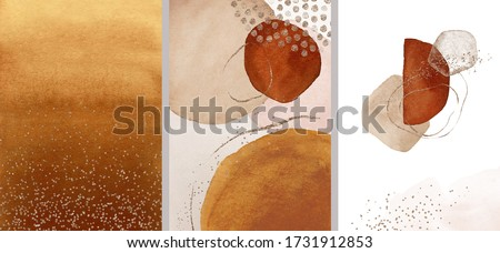Terracotta, orange, beige, blush, pink, ivory watercolor Illustration and gold elements, on white background. Abstract modern print set. Logo. Wall art. Posters.