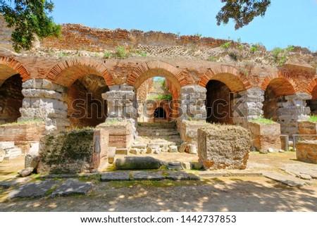 Terracotta plinfa ruins of the Maggiore amfiteatr in Pozzuoli at sunny day . Zdjęcia stock ©
