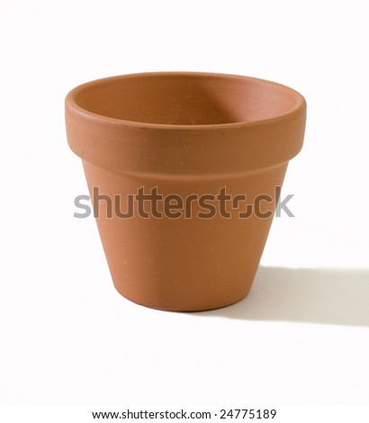 terracotta pot isolated on a white back ground