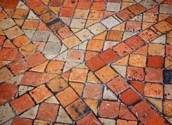 Terracotta tile floor in old house.